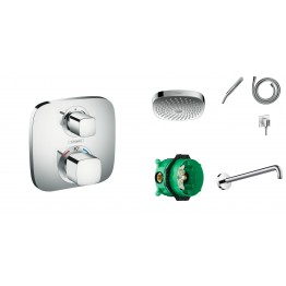 Hansgrohe Ecostat E thermostat, ibox, handshower set, wall overhead shower 180mm
