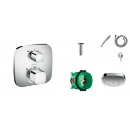 Hansgrohe Ecostat E thermostat,  ibox,  handshower set, ceiling overhead shower head 180mm