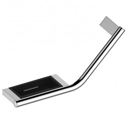 Keuco PLAN handle 135 ° with soap tray, left version chrome / black gray