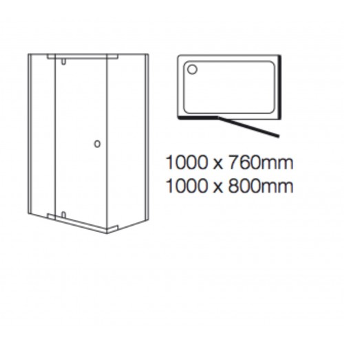 Kohler Mira Flight SFE Corner Pivot Extended Door • 1000