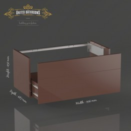 Keuco Royal Reflex vanity unit with 1 pull-out compartment front mocha glass / corpus silk matt mocha